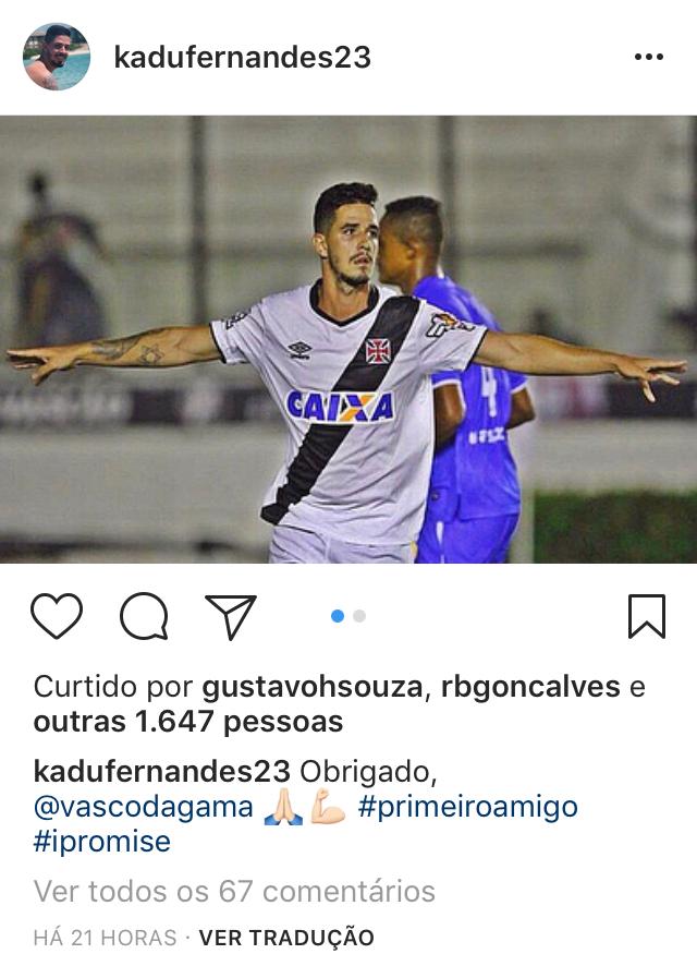 Zagueiro se despede do Vasco pelas redes sociais - Eu b62c06f53a09d